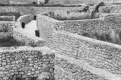 Labyrinth of streets in citadel. Victoria also known among the native Maltese as Rabat on maltese island Gozo. Labyrinth of narrow streets in the citadel. Black Stock Images