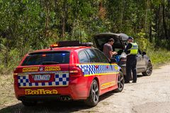 Victoria, Australia - a man is pulled over by highway patrol officer Royalty Free Stock Images