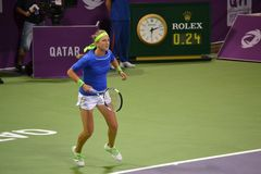 Victoria Azarenka 2. DOHA-QATAR: FEBRUARY 17: Tennis Player Victoria Azarenka at Qatar Total Open on February 17, 2012 in Doha, Qatar. The event was held from royalty free stock photos