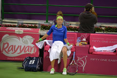 Victoria Azarenka Break Time. DOHA-QATAR: FEBRUARY 17: Tennis Player Victoria Azarenka at Qatar Total Open on February 17, 2012 in Doha, Qatar. The event was stock image