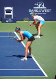 Victoria Azarenka and Maria Kirilenko. Won the double finals at the Bank of the West tournament in Stanford California July 31 2011 Royalty Free Stock Images