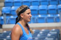 Victoria Azarenka. Professional belarussian tennis player Victoria Azarenka during her practice session at the 2014 US open tennis tournament Stock Image