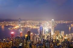 Victoria bay hongkong. View from the peak Royalty Free Stock Photos