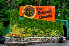 VICTORIA, BC - April 9: The sign of the butchart gardens on April 9, 2018 in Victoria. Butchart gardens is a group of floral stock photo