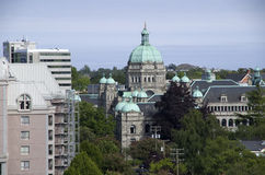 Victoria BC with British Parliament buildings in the middle Royalty Free Stock Photos