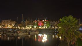 Victoria, BC, Canada - August 15: Busy Inner harbor night in Vic Royalty Free Stock Image
