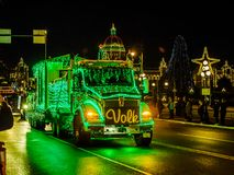VICTORIA BC, CANADA - DECEMBER 12, 2017: Truck Light Parade. Annual celebration of Christmas organized by Island Equipment Owners Association Royalty Free Stock Image