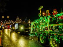 VICTORIA BC, CANADA - DECEMBER 12, 2017: Truck Light Parade. Annual celebration of Christmas organized by Island Equipment Owners Association Stock Photos