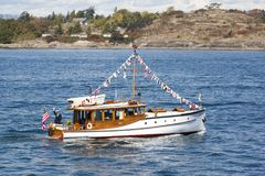 Vintage boats are docked at the  Victoria Classic Boat Festival. Royalty Free Stock Images