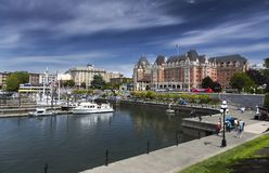 Victoria BC Inner City Harbor and Fairmont Empress Hotel stock photo