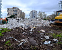 Victoria, BC, March 21: 1075 pandora street Westcan services building after demolition, March 21, 2015 In Victoria BC Royalty Free Stock Photography