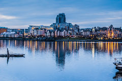 Victoria BC skyline at dusk in March Royalty Free Stock Photos