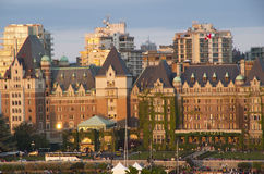Victoria BC sunset. Inner harbor of Victoria BC in beautiful sun setting with The Fairmont Empress hotel in the middle Stock Photography