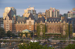 Victoria BC sunset. Inner harbor of Victoria BC in beautiful sun setting with The Fairmont Empress hotel in the middle Royalty Free Stock Image