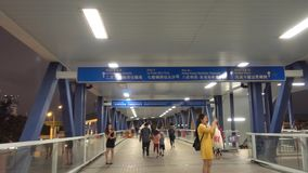 People are traveling from Hong Kong central to Star Ferry pier. stock video