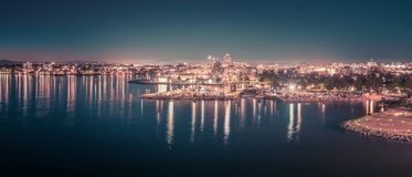 Victoria british columbia city lights view from cruise ship Royalty Free Stock Photos