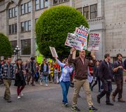 Protestors with Signs royalty free stock photography