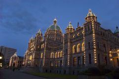 Victoria British Columbia Parliament Building. Parliament government building in downtown, British Columbia, Canada. The structure is lit up with lights during Royalty Free Stock Image