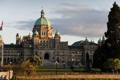 Victoria, British Columbia Parliament Building. The historic Victoria, BC government building seen at sunset in the inner harbor of this beautiful city Stock Photo