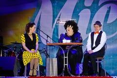 Victoria Bulitko Yevgeniy Smorigin, Maryna Poplavska, Dizel show, Vinnytsia stadsdag, Ukraina, 08 09 2017 redaktörs- foto royaltyfri bild
