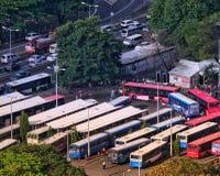 Victoria bussterminal i Port-Louis Mauritius Arkivfoton