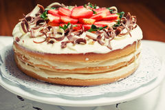 Victoria Cake. Victoria sponge cake with strawberries royalty free stock photo