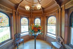 VICTORIA, CANADÁ - 15 DE AGOSTO DE 2017: Interior do castelo de Craigdarroch Imagem de Stock Royalty Free
