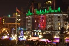 Victoria, Canadá 3 de diciembre de 2011: Ciudad de Victoria céntrica durante Imagen de archivo