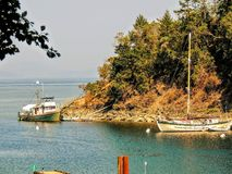 Victoria Canada Ocean Bay Forest and Boats in Harbor stock images