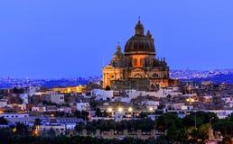 Victoria city, Gozo island, Malta with Rotunda of St. John the Baptist at sunset. Rotunda of St. John the Baptist, Victoria city, Gozo island, Malta at sunset Stock Image