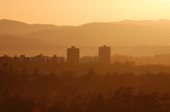 Victoria city and hills at sunset Royalty Free Stock Photo