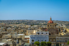 Victoria city with Saint George Basilica view from the citadel - Victoria, Gozo, Malta. Victoria city with Saint George Basilica view from the citadel in Stock Photos