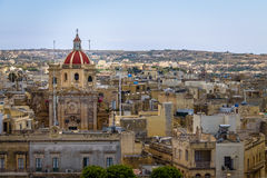 Victoria city with Saint George Basilica view from the citadel - Victoria, Gozo, Malta Royalty Free Stock Photos