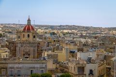 Victoria city with Saint George Basilica view from the citadel - Victoria, Gozo, Malta. Victoria city with Saint George Basilica view from the citadel in Stock Photo