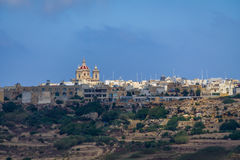 Victoria city skyline with Saint George Basilica - Victoria, Gozo, Malta. Victoria city skyline with Saint George Basilica in Victoria, Gozo, Malta Royalty Free Stock Image