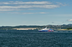 Victoria Clipper. VICTORIA, BC - CIRCA JUNE 2014 - Travel between Seattle and Victoria, BC is fast and convenient aboard a high-speed Victoria Clipper passenger Stock Image