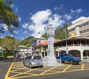 Victoria Clock Tower Mahe, Seychellerna, ledare Royaltyfria Bilder