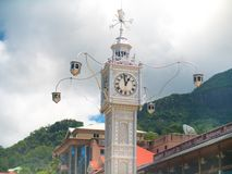 Victoria Clock Tower in Victoria, Seychelles. Royalty Free Stock Photos