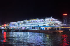Victoria Cruise ship moored at night, Chongqing, China. CHONGQING-NOV. 4, 2014. Victoria Cruise moored vessel at night. Victoria Cruise is specialized on Yangtze Royalty Free Stock Photos