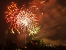 Victoria Day Fireworks in Toronto Royalty Free Stock Photography
