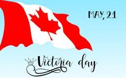 Victoria Day heureuse Vacances canadiennes nationales Lettrage de main Illustration de vecteur illustration de vecteur