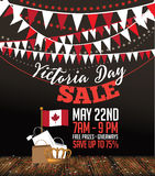 Victoria Day sale card background icon with Canada flag and crown. Stock Photography