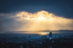 Victoria Downtown with Moody Light Stock Image