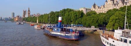 Victoria Embankment Early Morning Panorama & Big Ben Royalty Free Stock Image