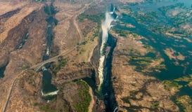 Victoria Falls στην ξηρασία, εναέριος πυροβολισμός στοκ φωτογραφία