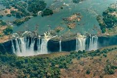 Victoria Falls в Зимбабве на засухе, воздушной съемке стоковая фотография rf