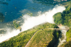 Victoria Falls, Zambesi River with bridge and Victoria Falls royalty free stock photos