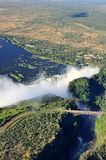 Victoria Falls. Aerial view of Victoria Falls seen from the air, Zambia/Zimbabwe Stock Photo