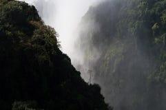 Victoria Falls avec l'arbre isolé vu de Victoria Falls Bridge Images stock