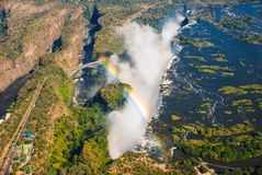 Victoria Falls. At the border of Zimbabwe and Zambia, is the largest waterfall in the world royalty free stock photo